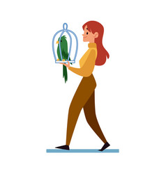 Woman carrying a cage with a parrot flat cartoon vector