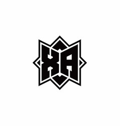 Xa monogram logo with square rotate style outline vector