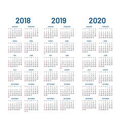 year 2018 2019 2020 calendar vector image