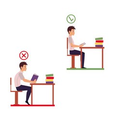 Young man reading in incorrect sitting position vector