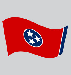 flag of tennessee waving on gray background vector image vector image