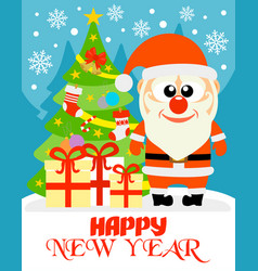 happy new year card with funny santa claus vector image