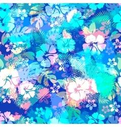 Hawaiian tropical floral seamless pattern vector image