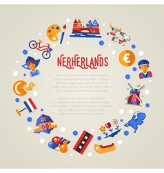Holland travel circle postcard with famous Dutch vector image vector image