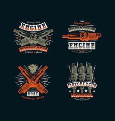 set of motorcycle club emblem for t-shirt vector image vector image