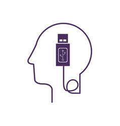 silhouette profile human head with usb device vector image