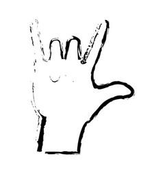 Sketch hand man rock n roll gesture music icon vector