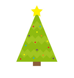 Fir-tree icon yellow star tip top round ball vector