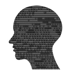 head silhouette with binary code vector image vector image