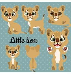 Set of emotions a little lion on a gray background vector image vector image