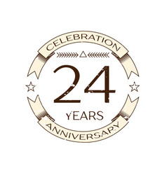 twenty four years anniversary celebration logo vector image vector image