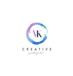 vk letter logo circular purple splash brush vector image vector image