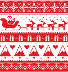 Christmas jumper or sweater seamless red pattern vector image vector image