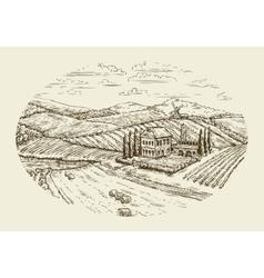 Vineyard landscape Hand drawn vintage sketch vector image vector image