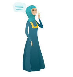 young muslim business woman with speech bubble vector image
