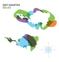 Abstract color map of Sint Maarten vector image vector image
