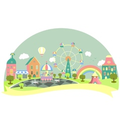 Amusement park in flat style vector