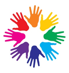 colorful hand prints vector image vector image