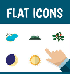 Flat icon bio set of half moon solar peak and vector
