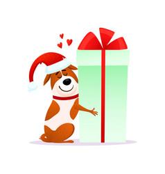 funny cartoon dog in santa hat hugs xmas gift vector image vector image