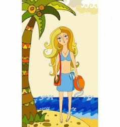 girl under palm vector image