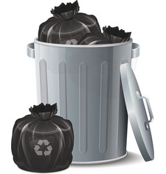 Iron Bin With Garbage Bag vector image vector image