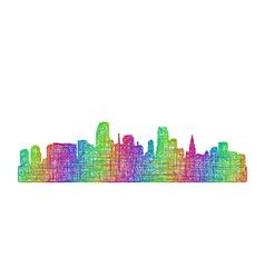 Miami skyline silhouette - multicolor line art vector