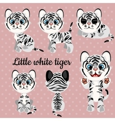 Set of emotions a little white tiger vector image vector image