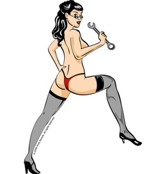 Wrench Girl Pin Up vector image vector image