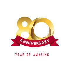 80 year anniversary year amazing template vector