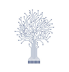 Abstract circuit tree silhouette computer vector