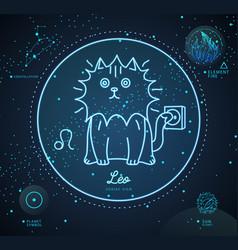 Astrology leo zodiac sign funny cat vector