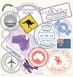 Australia travel stamps set sydney vector