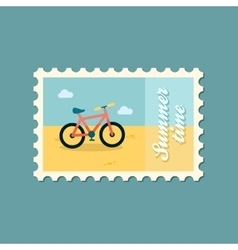 Bicycle flat stamp vector image