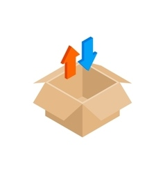 Blank cardboard box and arrows icon vector
