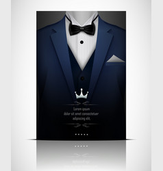 Blue suit and tuxedo with black bow tie vector