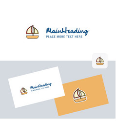boat logotype with business card template elegant vector image