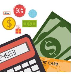 Buy on line with bills dollars vector