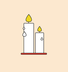 candle icon happy thanksgiving day autumn vector image