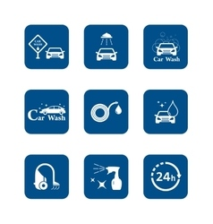 Car wash blue icon set vector