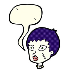 Cartoon female zombie head with speech bubble vector