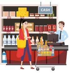 cashier behind cashier counter in interior vector image