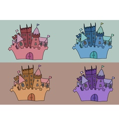 Castle set art background building vector image
