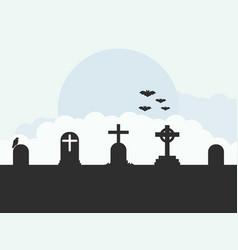 cemetery landscape graves bats flat style vector image