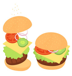 Cheeseburger with greens and vegetables a set of vector