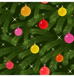 christmas tree fir branch decorated seamless vector image