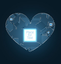 Circuit board heart with processor inside vector