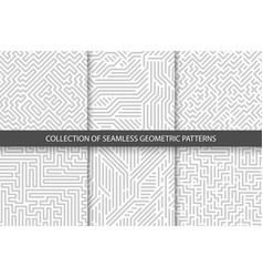 Collection striped seamless geometric patterns vector