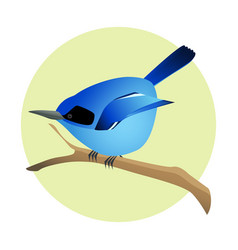 colorful blue bird on a branch side profile vector image