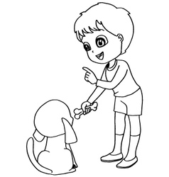 Coloring book child feeding dogs vector